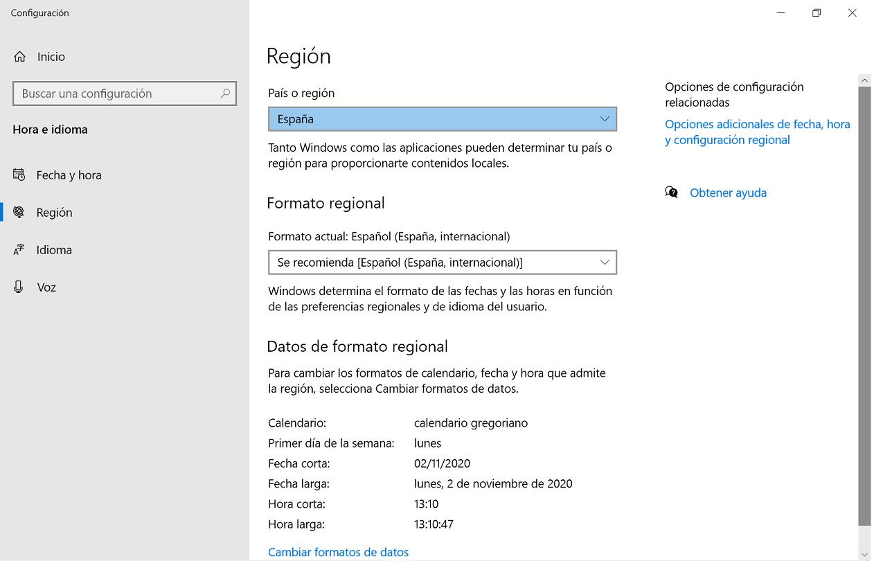 País y Región de Windows 10