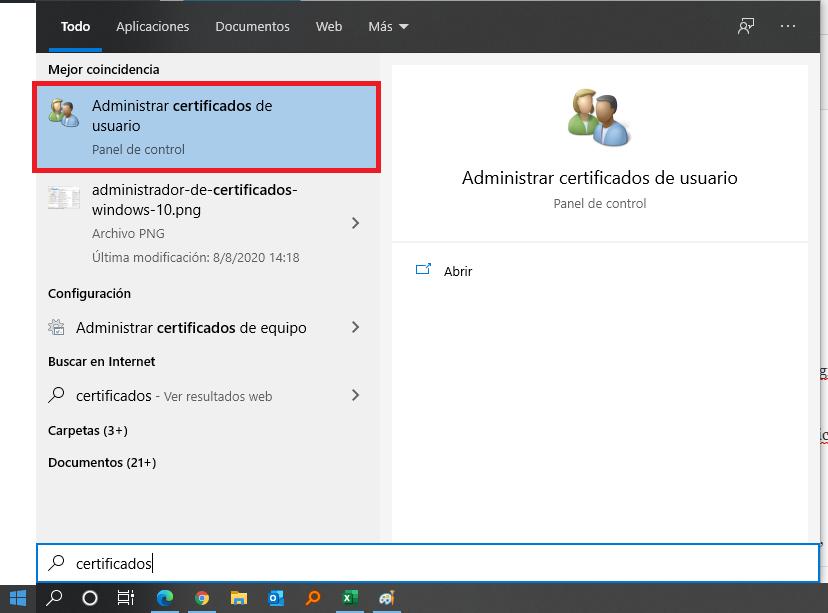 Administrador de certificados de usuario en Windows 10