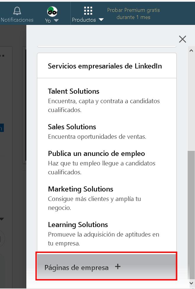 Alta página de empresa en Linkedin