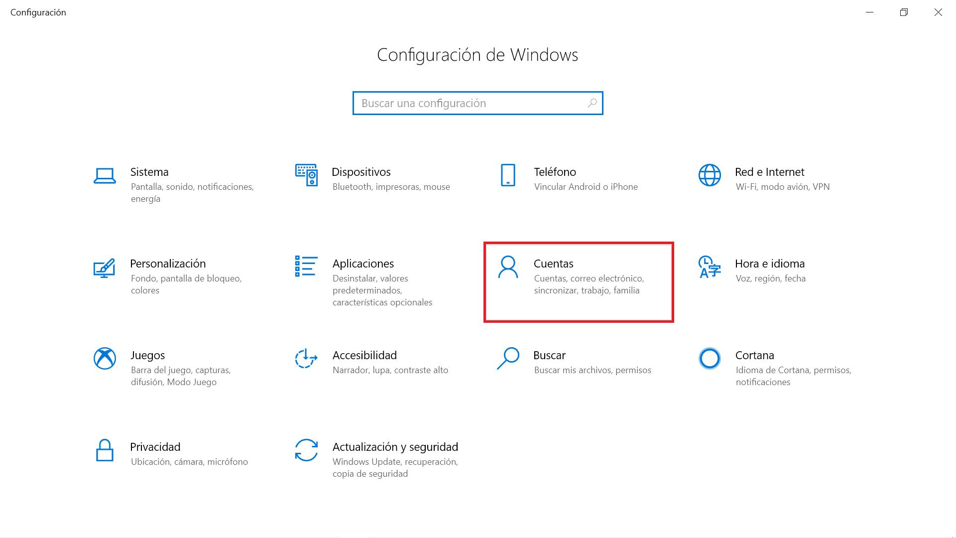 Ventana Configuración de Windows 10