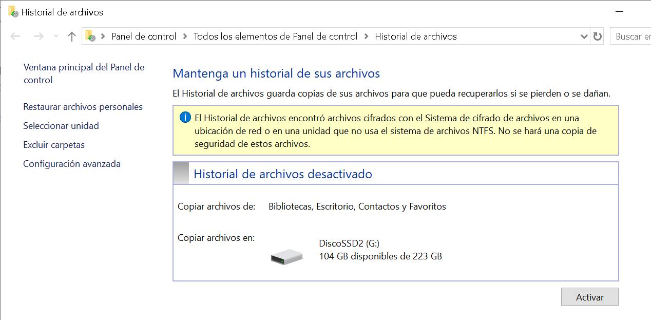 Historial de archivos de backup
