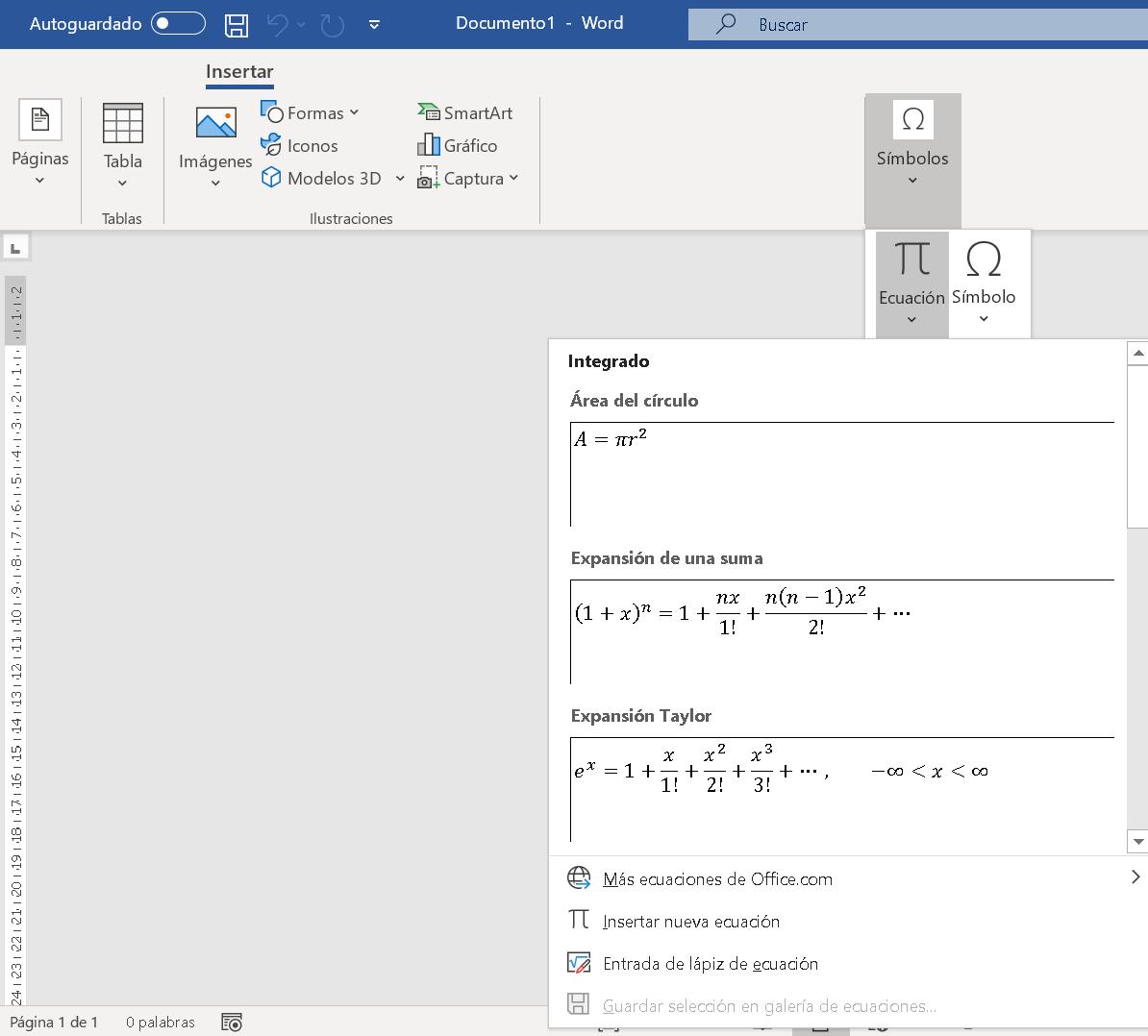 Insertar fórmulas en Word