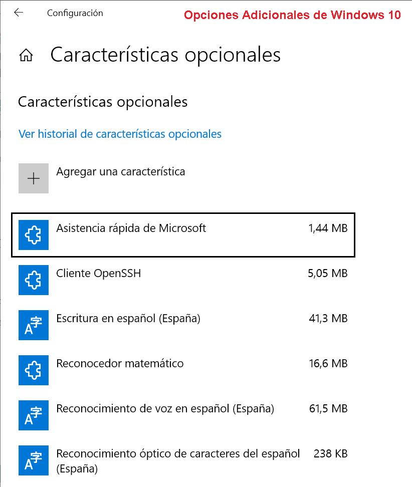 Ventana Opciones Adicionales de Windows 10