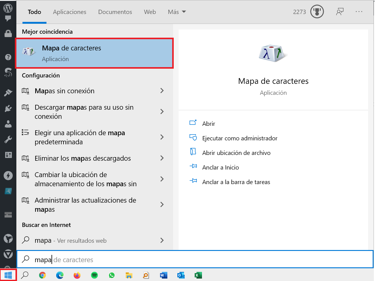 Abrir el Mapa de caracteres desde el Menú de Inicio de Windows 10