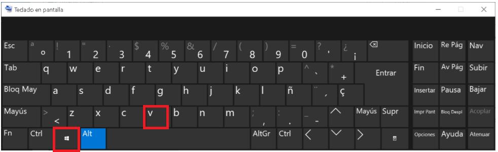 Consultar el historial del portapapeles Tecla Windows+V